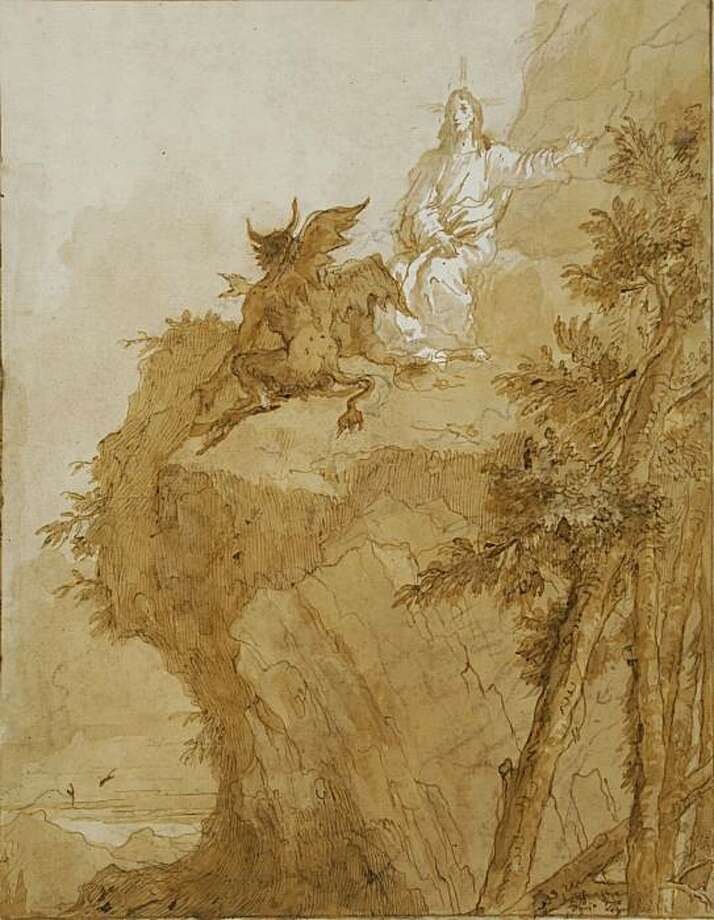 """""""The Third Temptation of Jesus"""" (c. 1786-90) pen and ink wash over black chalk by Domenico Tiepolo Photo: Unknown, Cantor Center, Stanford U."""
