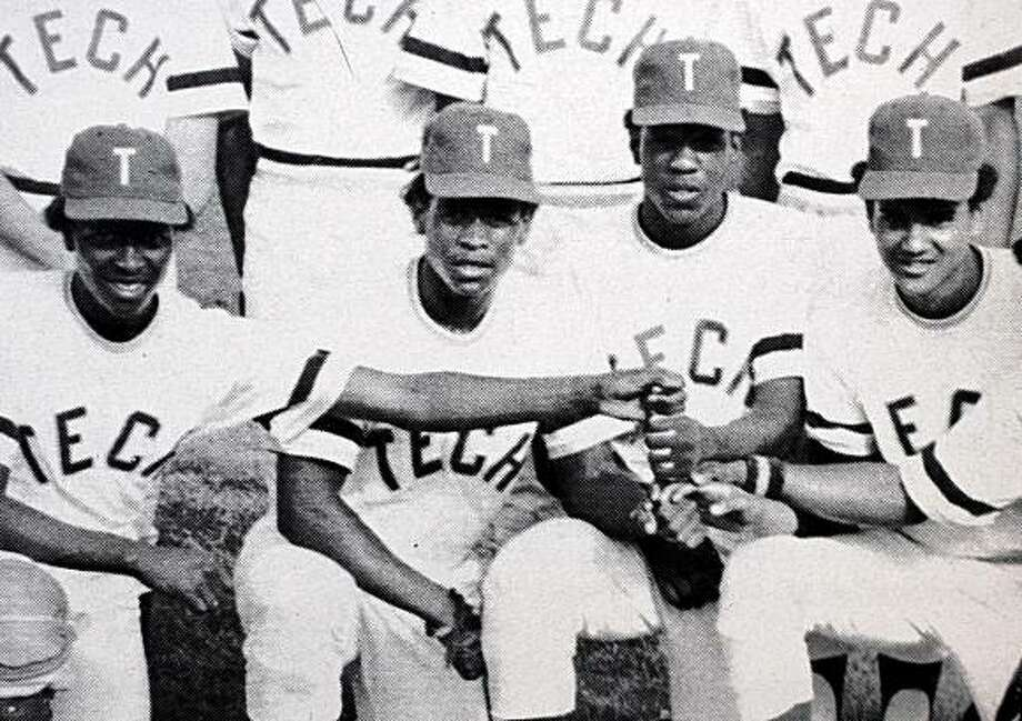 Rickey Henderson (second from left) and some of his Oakland Tech Bulldog baseball teammates appear in a yearbook team photo in Henderson's junior year in Oakland, Calif. Photo: Oakland Technical High School