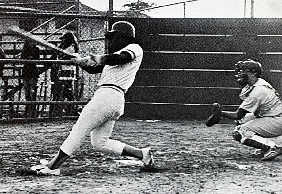 A yearbook photo shows Oakland Tech High School star athlete Rickey Henderson slap a base hit in his senior year in Oakland, Calif., on Friday, July 17, 2009. Photo: Oakland Tech High School