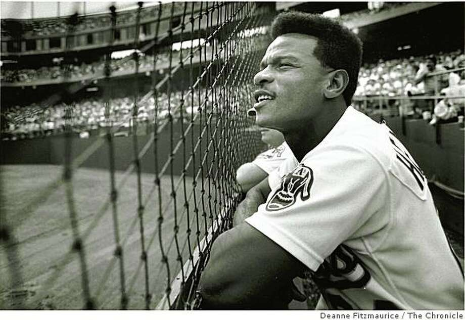 Sept. 28, 1989 Rickey Henderson watches the field during an A's vs. Rangers game. Photo: Deanne Fitzmaurice, The Chronicle