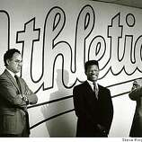 Nov. 28, 1989 - Rickey Henderson, Sandy Alderson, and agent Richie at contract signing.