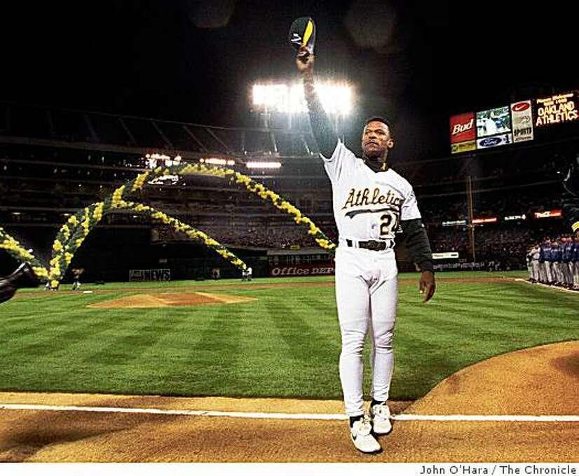 Opening day, Rickey Henderson in the opening line-up is welcomed back for his fourth trip with the A's. Photo: John O'Hara, The Chronicle