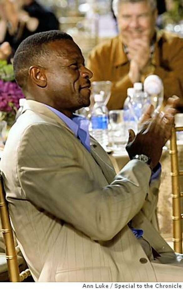 "Rickey HendersonThe Oakland A's Community Fund's third Annual Dinner on the Diamond at McAfee Coliseum raised more than $100,000 for the A's Community Fund and LA based camp ""The Painted Turtle"" for children with serious health issues. Photo: Ann Luke, Special To The Chronicle"
