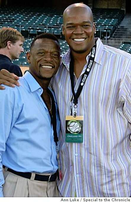 "Rickey Henderson, Frank ThomasThe Oakland A's Community Fund's third Annual Dinner on the Diamond at McAfee Coliseum raised more than $100,000 for the A's Community Fund and LA based camp ""The Painted Turtle"" for children with serious health issues. Photo: Ann Luke, Special To The Chronicle"
