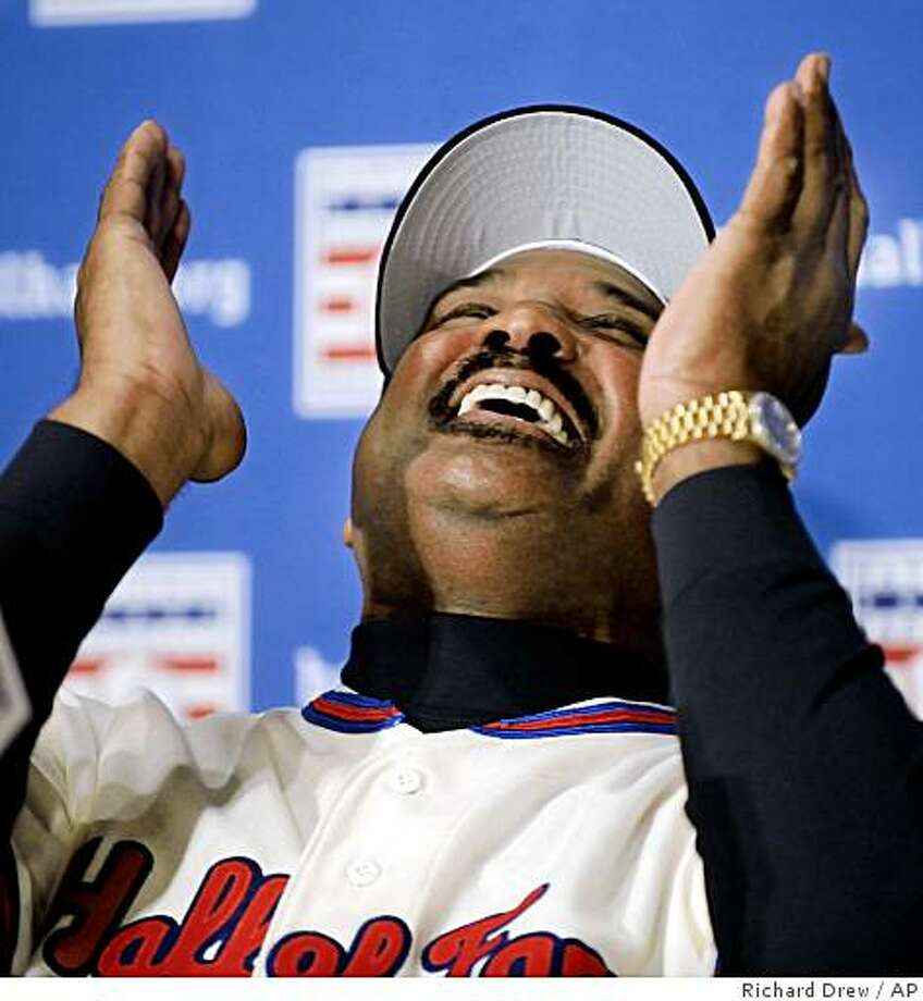 Baseball Hall of Fame inductee Jim Rice reacts to a remark by fellow inductee Rickey Henderson during a New York news conference, Tuesday Jan. 13, 2009. Photo: Richard Drew, AP