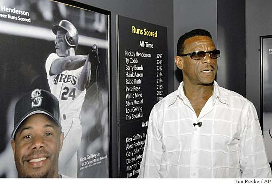 Class of 2009 Baseball Hall of Fame inductee Rickey Henderson stands near a display showing him as baseball's all-time  run scorer during a tour of the National Baseball Hall of Fame and Museum in Cooperstown, N.Y., on Friday, May 8, 2009.  The color photo at lower left is of Ken Griffey, Jr., the games current active leading scorer. Photo: Tim Roske, AP