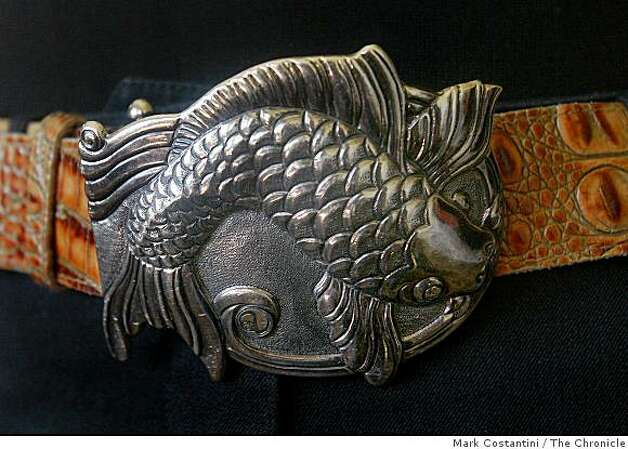A belt buckle designed by Anne Namba, Hawaiian fashion designer is photographed during a trunk show in San Francisco Calif. on Friday, March 20, 2009. Photo: Mark Costantini, The Chronicle