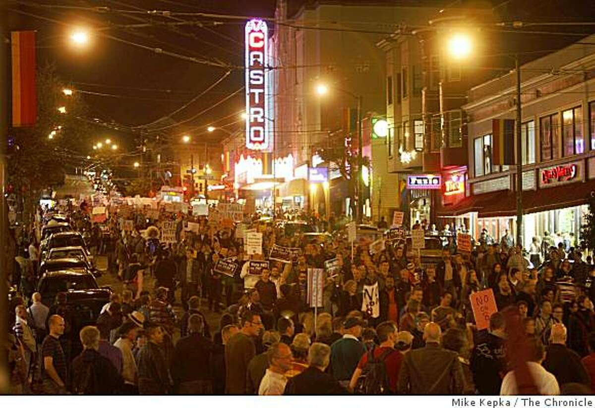 Thousands of people head down Castro Street during a march and to protest the passage of Prop. 8 on Friday Nov. 7, 2008 in San Francisco, Calif.