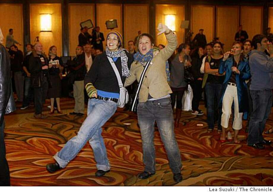 Margaret Belton and Mika Anami (l to r) of San Francisco dance in the Grand Ballroom while returns by County are shown on the screens set up in the room during the No on 8 party at the Westin St. Francis on Tuesday, November 4, 2008 in San Francisco, Calif. Photo: Lea Suzuki, The Chronicle