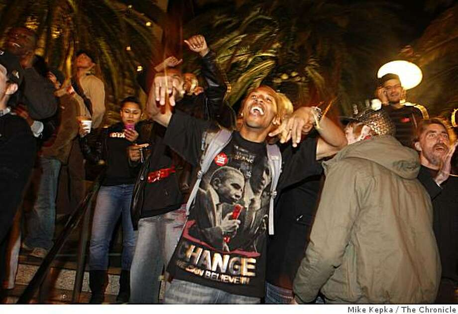 After Obama wins the presidential race, Jason Donahue, 25, of San Francisco cheers for the first black president in Union Square on Tuesday Nov. 4, 2008 in San Francisco, Calif. Photo: Mike Kepka, The Chronicle