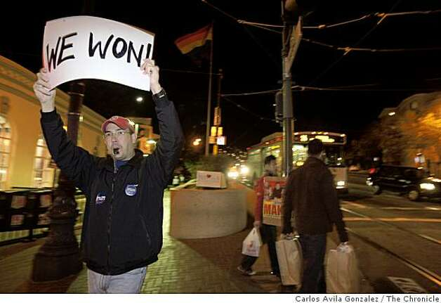 Joe Roa reacts to Barack Obama's victory at the intersection of Castro and Market Streets. Reaction to the election of Barack Obama to the presidency in the Castro District of San Francisco, Calif., on election night, Tuesday, November 4, 2008. Photo: Carlos Avila Gonzalez, The Chronicle