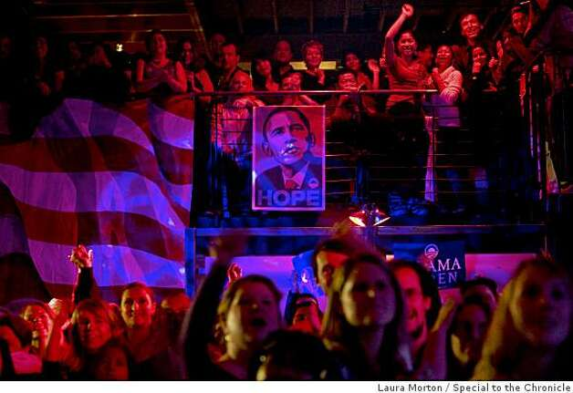Revelers celebrate the results for the president of the United States at an Obama victory party at Mezzanine in San Francisco, Calif., on Tuesday, November 4, 2008. Photo: Laura Morton, Special To The Chronicle