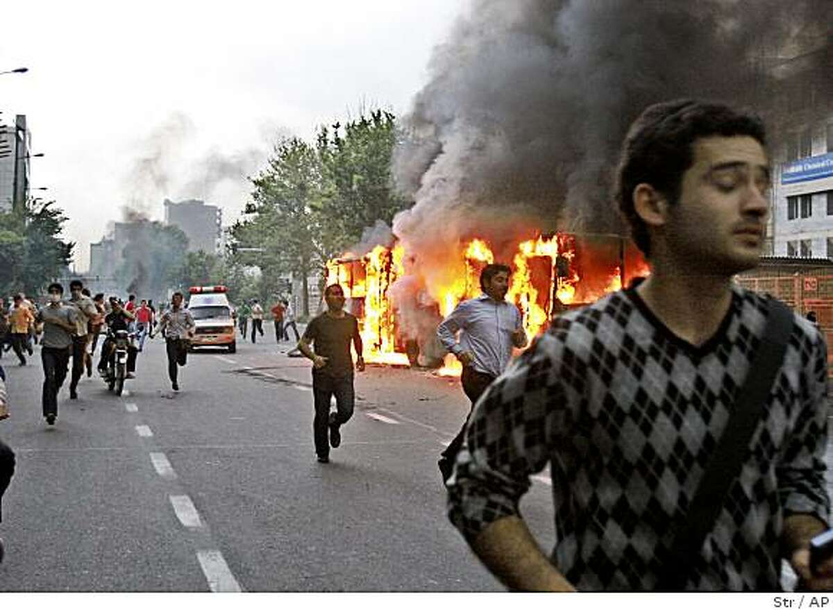 Demonstrators in Tehran, Iran, on Saturday protesting the declared results of the Iranian presidential election.