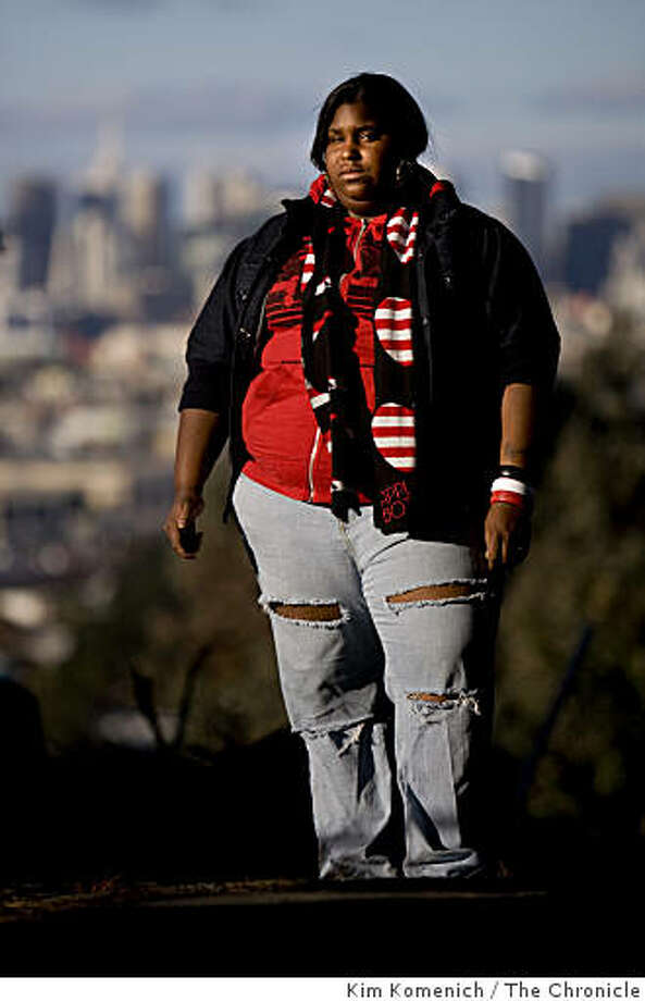 Sylvia Johnson is one of the Carver kids. She stands in the Hunter's Point neighborhood in San Francisco, Calif., on Friday, Dec. 19, 2008. Photo: Kim Komenich, The Chronicle