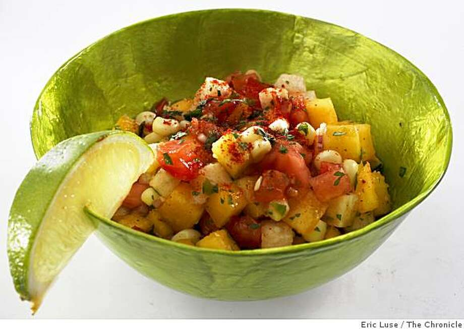 Peach Jicama and Tomato Salsa photographed in San Francisco on Thursday, June 11, 2009.  Food Styling by Mathew Ramsey Photo: Eric Luse, The Chronicle