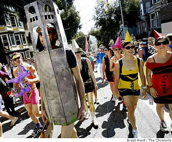 Coit Tower and Crayons crested the hill at the same time Sunday. The 98th running of the Bay to Breakers in San Francisco, CA featured a police crackdown on public drinking. Photo: Brant Ward, The Chronicle