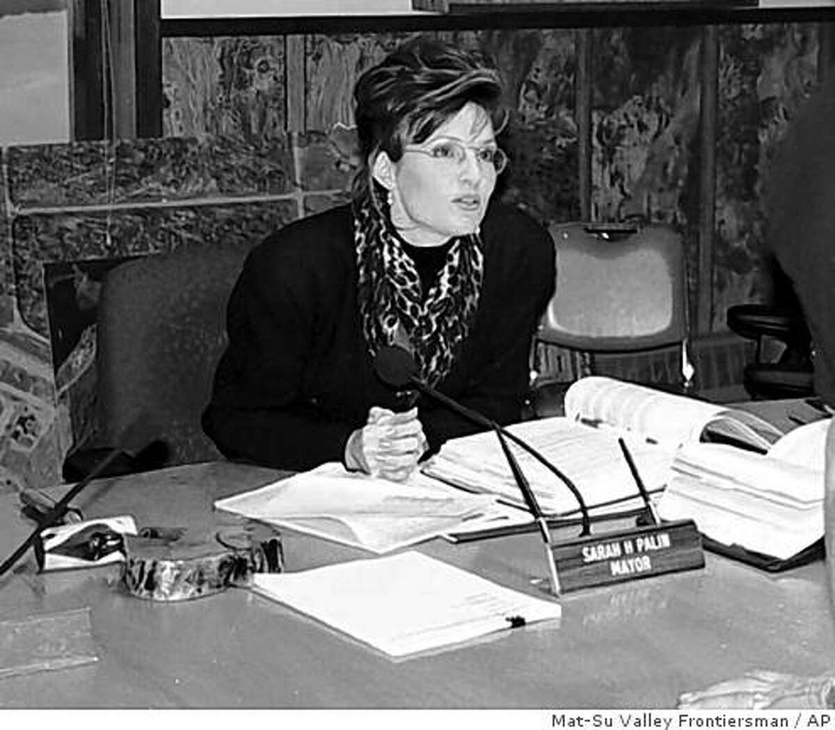 This Oct. 1996 picture shows Wasilla, Alaska Mayor Sarah Palin in her office. Sen. John McCain named the Alaska governor as his running mate on Friday, Aug. 29, 2008. (AP Photo/Mat-Su Valley Frontiersman) ** ANCHORAGE DAILY NEWS OUT **