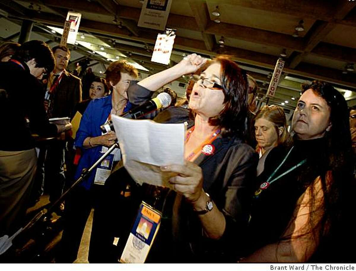 Lillian Taiz urged the conventioneers not to support Proposition 1A. Conventioneers voted not to take a stand on Proposition 1A because a 60 percent affirmative vote was not achieved. The state Democratic Party held their last day of a convention in Sacramento Sunday April 26, 2009.
