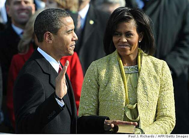 Barack Obama is sworn in as the 44th US president by Supreme Court Chief Justice John Roberts. Photo: Paul J. Richards, AFP/Getty Images