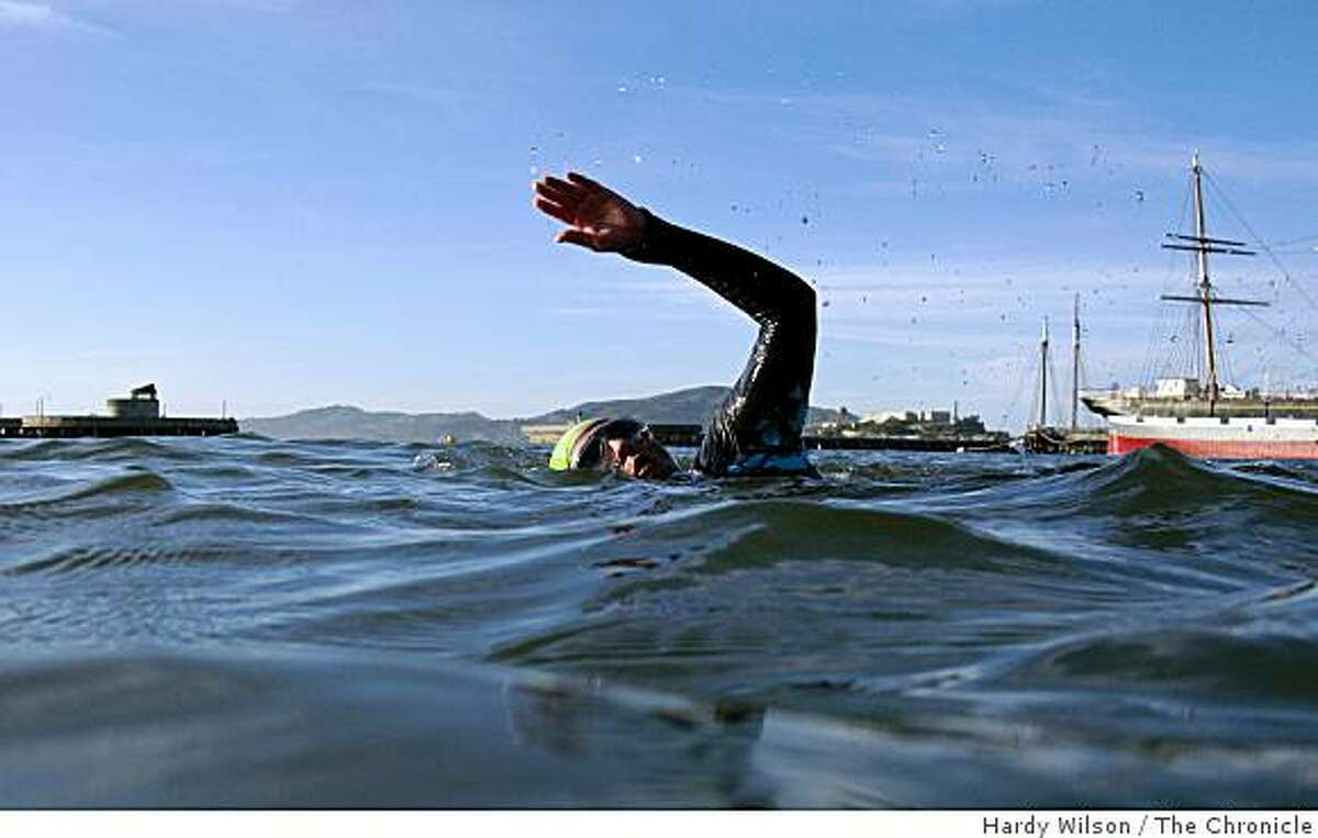 Alicia Battle swims in the Aquatic Park in Fisherman's Wharf in San Francisco, Calif., on Friday, April 17, 2009. Battle, a triathlete who trains in the bay, was recently stung in the face by a Pacific Sea Nettle, a type of jellyfish that has been increasing in number in the area and stinging many swimmers.