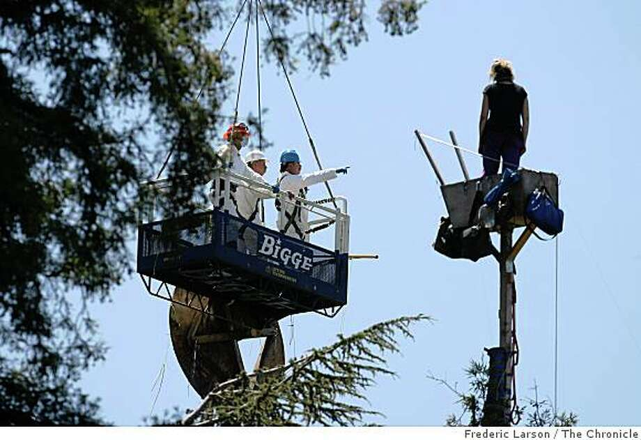 "A protester known as ""Dumpter Muffin"" stands at the top of the tree as authorities via a crane survey the scene on June 18, 2008. Photo: Frederic Larson, The Chronicle"