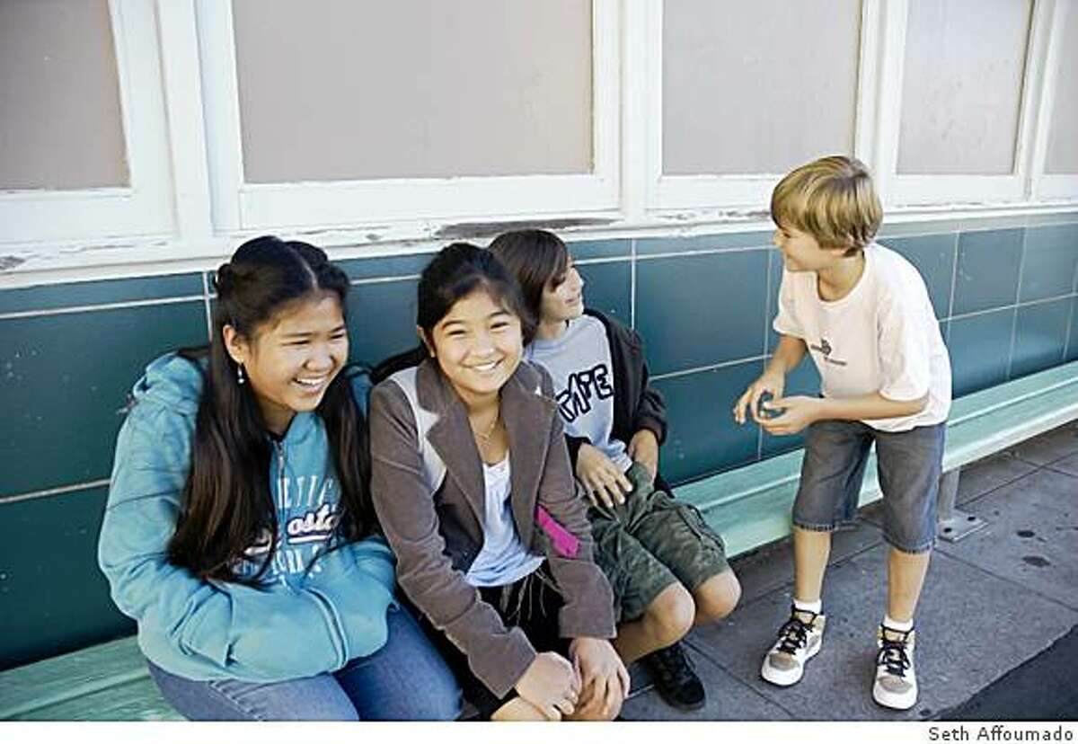 Recent Miraloma graduates Alvianne Bautista, Trishcia Bautista, Will Rodriguez, and Jules Schenkel (author's son) come back from public middle school to visit their old school.