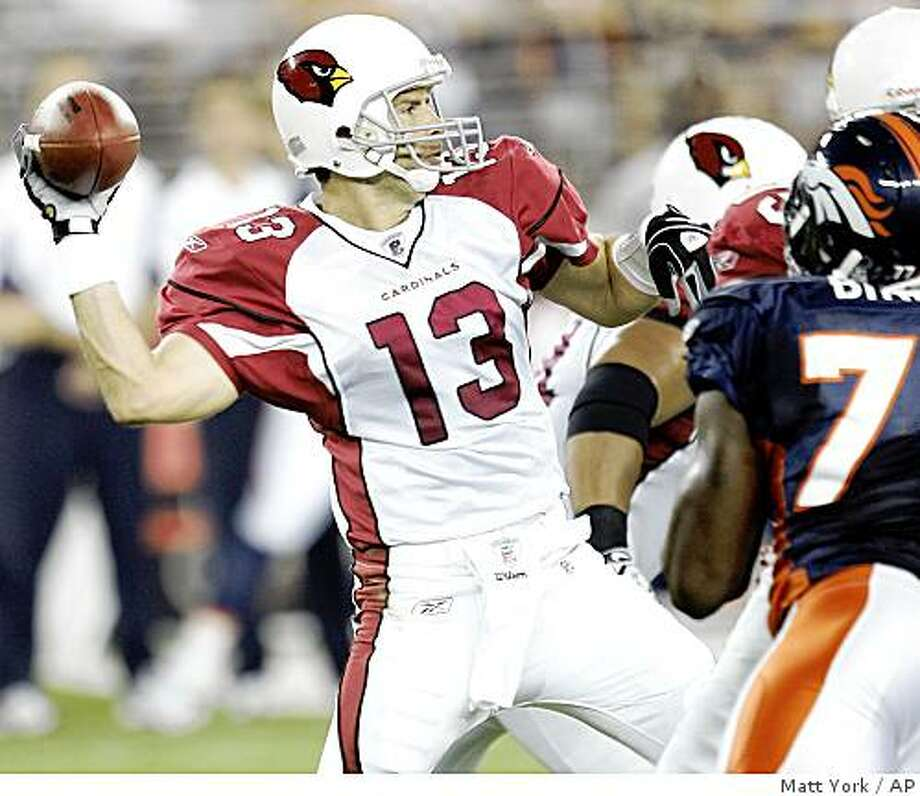Arizona Cardinals quarterback Kurt Warner (13) throws against the Denver Broncos during the first quarter of an NFL preseason football game Friday, Aug 29, 2008, in Glendale, Ariz. (AP Photo/Matt York) Photo: Matt York, AP
