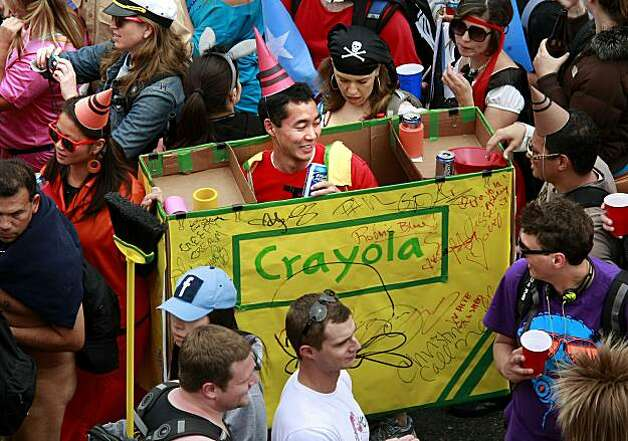Everyone likes a good crayon costume as this man found out on Hayes Street. Thousands took part in the 99th annual ING Bay to Breakers event  Sunday morning May 16, 2010 in San Francisco, Calif. Photo: Brant Ward, The Chronicle