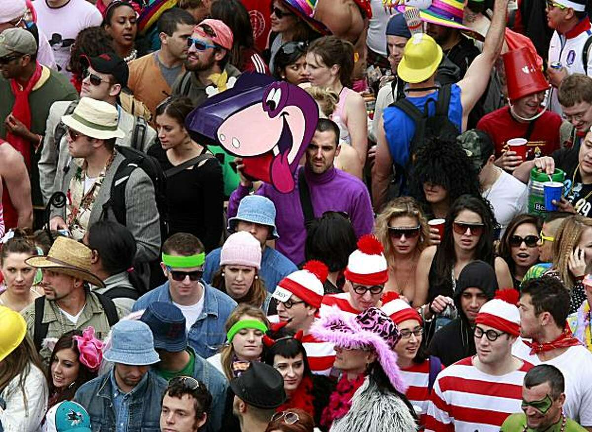 Cartoon characters could be spotted at the top of Hayes Street hill where the runners ground to a halt. Thousands took part in the 99th annual ING Bay to Breakers event Sunday morning May 16, 2010 in San Francisco, Calif.