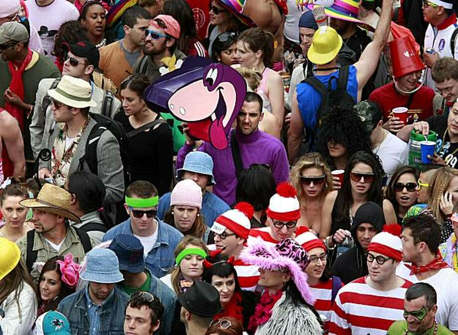Cartoon characters could be spotted at the top of Hayes Street hill where the runners ground to a halt. Thousands took part in the 99th annual ING Bay to Breakers event  Sunday morning May 16, 2010 in San Francisco, Calif. Photo: Brant Ward, The Chronicle
