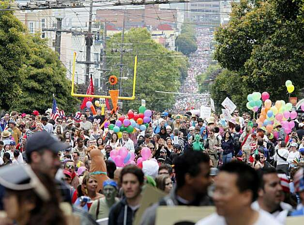 The crowds on Hayes Street stretched all the way down to Van Ness for much of the morning.  Thousands took place in the 99th annual ING Bay to Breakers event  Sunday morning May 16, 2010 in San Francisco, Calif. Photo: Brant Ward, The Chronicle