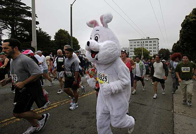 One big bunny made his way past Alamo Square early in the event. Thousands took place in the 99th annual ING Bay to Breakers event  Sunday morning May 16, 2010 in San Francisco, Calif. Photo: Brant Ward, The Chronicle