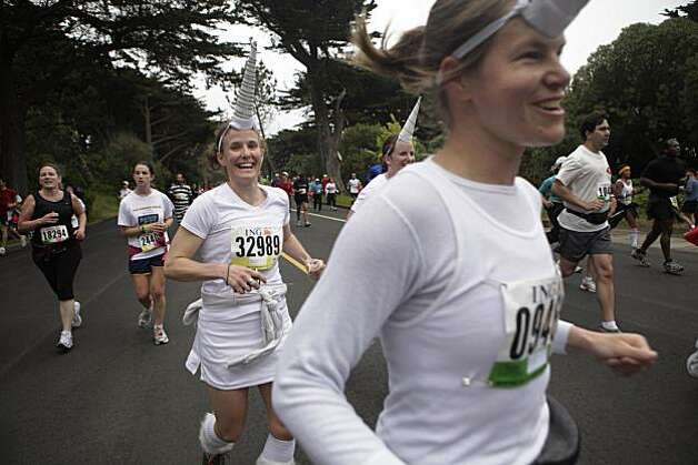 Marne Pringle, Molly Pucillo and  Laura Gaffney, all of Portland,  Oregon run as unicorns during the 2010 Bay to Breakers in San Francisco, Calif. on Sunday May 16, 2010. Photo: Lea Suzuki, The Chronicle