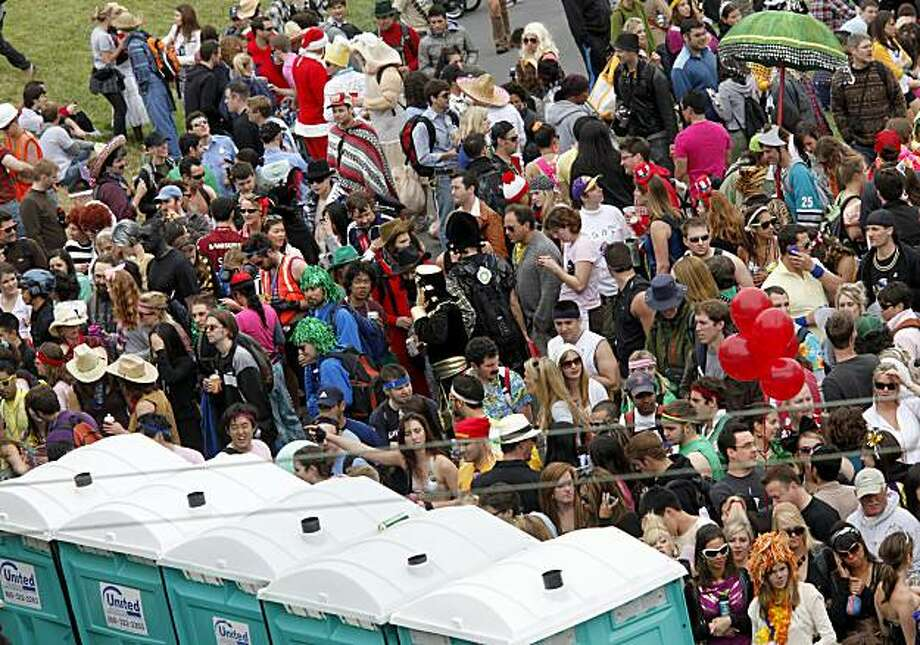 At Alamo Park, there was a big line for the portable restrooms. Thousands took place in the 99th annual ING Bay to Breakers event  Sunday morning May 16, 2010 in San Francisco, Calif. Photo: Brant Ward, The Chronicle