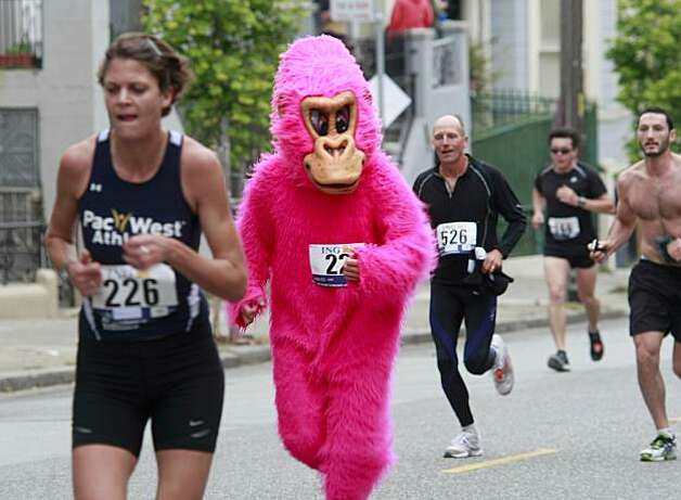 That familiar pink gorilla was near the front at the start of the race. Thousands took place in the 99th annual ING Bay to Breakers event  Sunday morning May 16, 2010 in San Francisco, Calif. Photo: Brant Ward, The Chronicle