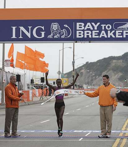 Lineth Chepkurui of Kenya crosses the finish line first in the 2010 Bay to Breakers in San Francisco, Calif. on Sunday May 16, 2010. Photo: Lea Suzuki, The Chronicle