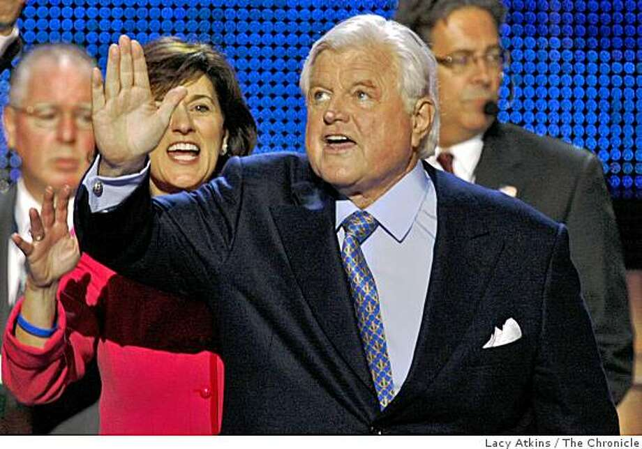 Senator Ted Kennedy is  cheered by the crowd as he speaks to during a tribute to him, Monday Aug. 25, 2008,  in Denver, Colorado. Photo: Lacy Atkins, The Chronicle