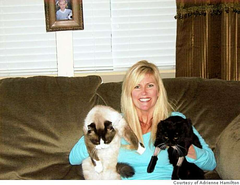 Michelle Hamilton, with her cats Sage and Red, acts as a caretaker for feral cat colonies. She has spent thousands of dollars on the care and treatment of neglected animals. Photo: Courtesy Of Adrienne Hamilton