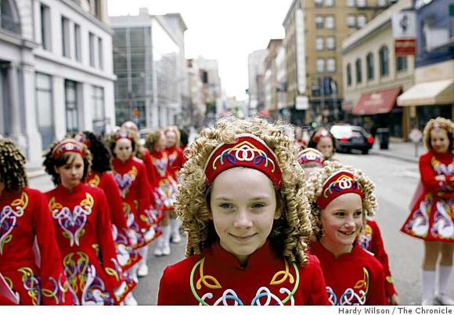 Members of the Keenan School of Irish Dance out of Sonoma County line up before the start of the 158th Annual Saint Patrick's Day parade in San Francisco, Calif. on Saturday, March 14, 2009. Photo: Hardy Wilson, The Chronicle