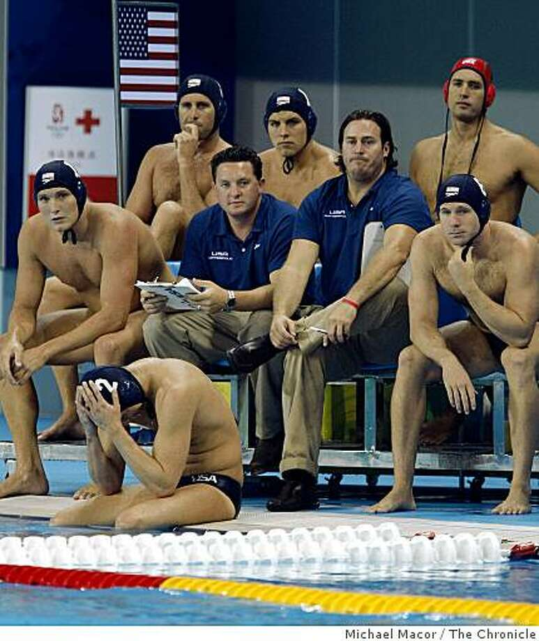 A somber USA bench as the last seconds tick away and Hungury takes the gold medal beating the US water polo team 14-10  in the gold medal final at the 2008 Olympic games in Beijing, China on Sunday Aug. 24, 2008. Photo: Michael Macor, The Chronicle