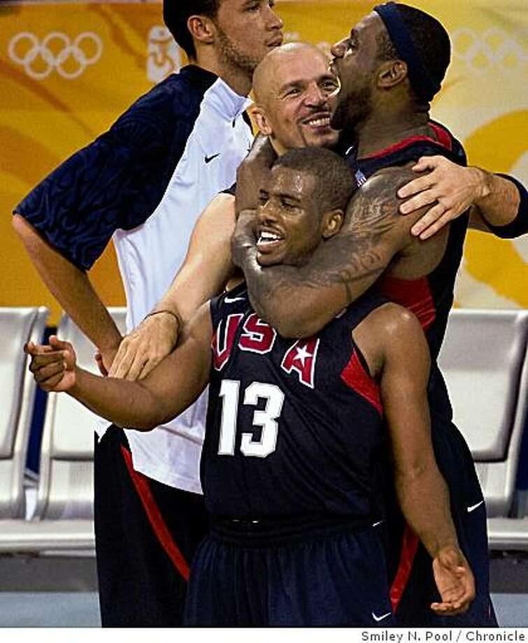 Chris Paul (13), Jason Kidd, center, and Lebron James, top right, celebrate after the gold medal final in men's basketball at the 2008 Summer Olympic Games, Sunday, Aug. 24, 2008, in Beijing. The USA defeated Spain to win the gold. Photo: Smiley N. Pool, Chronicle