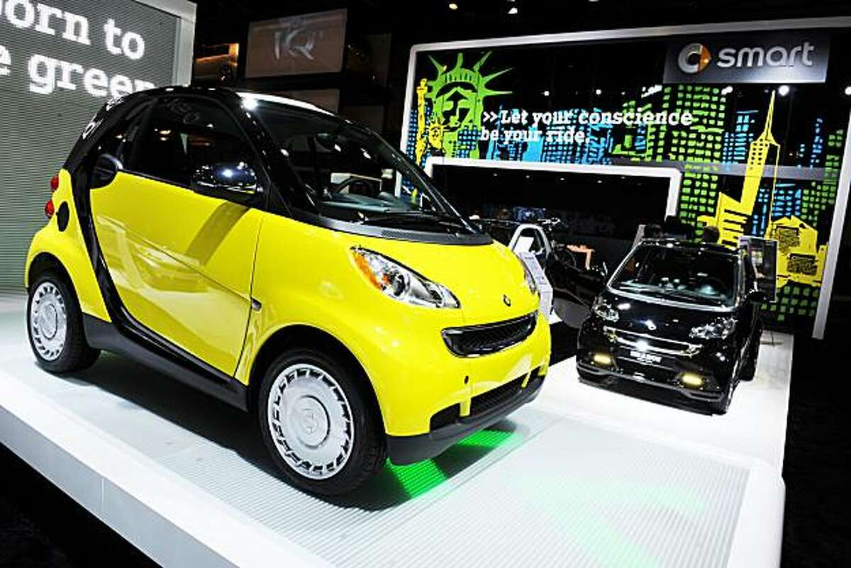 A Smart ForTwo vehicles on display at the New York International Auto Show April 1, 2010 in New York.