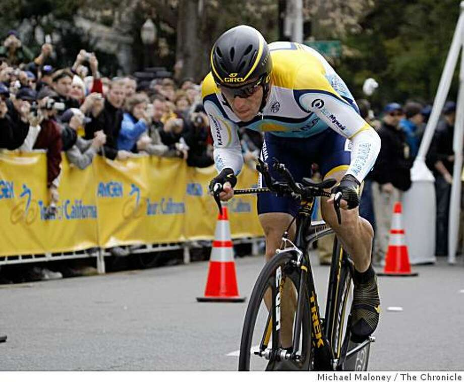 Lance Armstrong of the Astana cycling team starts the prologue - the opening race of the 2009 Amgen Tour of California bicycle race  in Sacramento, Calif., on Saturday, February 14, 2009. Photo: Michael Maloney, The Chronicle