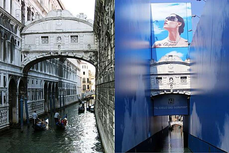 Venice's trademark Bridge of Sighs (left) is now covered with advertising posters while being renovated (right). Photo: Mike Potter And Gene Openshaw