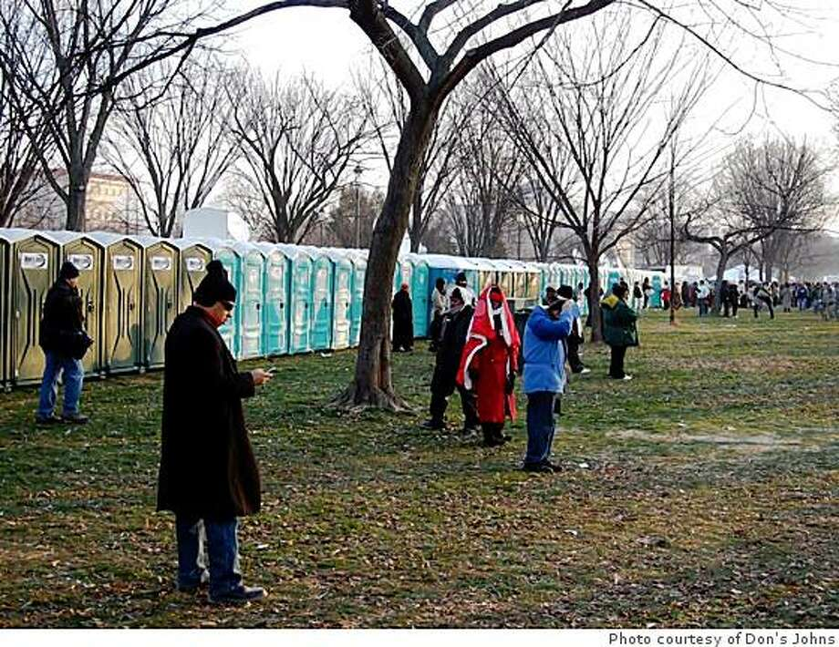 A phalanx of Inauguration Day toilets. Photo: Photo Courtesy Of Don's Johns