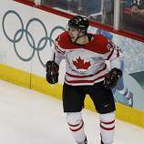 Sidney Crosby scored the winning goal in overtime over the USA in the gold medal hockey game at the Winter Olympic Games in Vancouver, British Columbia, on Sunday, Feb. 28, 2010. Paul Chinn/Chronicle Olympic Bureau