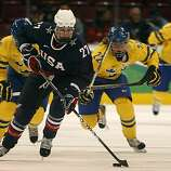 Jinelle Zaugg-Siergiej of the United States skates towards Sweden's goal in the Americans' 9-1 win in a semifinal hockey game at the Winter Olympic Games in Vancouver, British Columbia, on Monday.