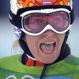 Nicolien Sauerbreij of Holland reacts to becoming Olympic champion in the women's Paralell Giant Slalom snowboarding competition at the Vancouver 2010 Olympics in Vancouver, British Columbia, Friday, Feb. 26, 2010.