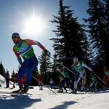 WHISTLER, BC - FEBRUARY 22:  Alexey Petukhov of Russia competes during the cross country skiing men's team sprint final on day 11 of the 2010 Vancouver Winter Olympics at Whistler Olympic Park Cross-Country Stadium on February 22, 2010 in Whistler, Canada.