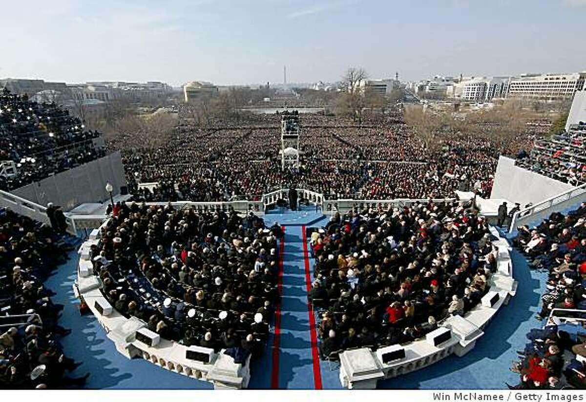 U.S President Barack Obama gives his inaugural address.